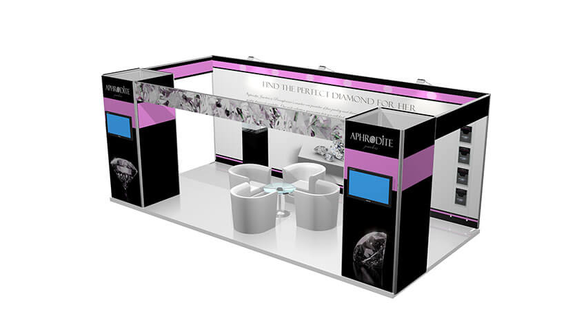 Isoframe Fabric 2x6 Messestand Seiten offen