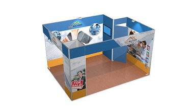 Isoframe Fabric 3x4 Messestand mit Kabine