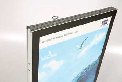Kundenstopper Windpro LED Rahmen aus Polycarbonat