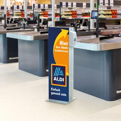 Infoständer mit Desinfektionsspender Supermarkt