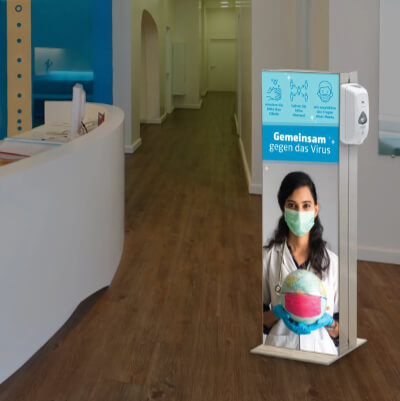 Infoständer mit Desinfektionsspender Empfang