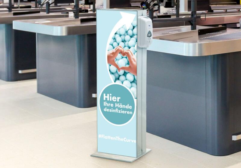 Infoständer mit Desinfektionsspender