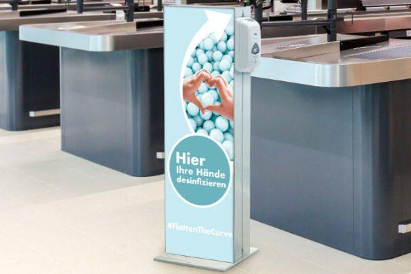 Infostele Desinfektionsspender Kassenbereich